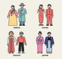 personagem do traje tradicional do mundo. vetor