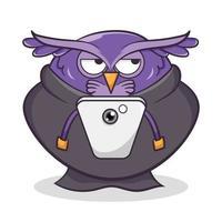 ilustração de desenho animado de coruja fofa vetor