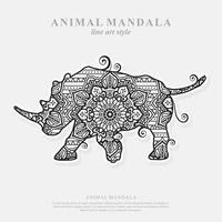 mandala de rinoceronte. elementos decorativos vintage. padrão oriental, ilustração vetorial. vetor