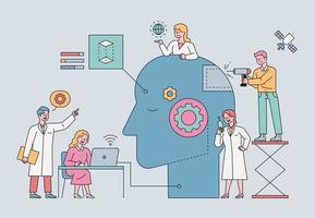 cientistas estão trabalhando em robôs gigantes com cabeça humana em um laboratório de inteligência artificial. ilustração em vetor mínimo estilo design plano.