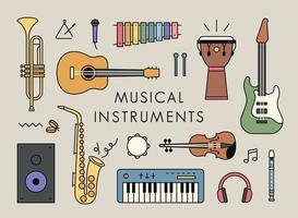 várias configurações de instrumentos. ilustração em vetor mínimo estilo design plano.