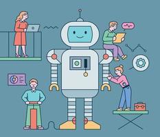um robô gigante fofo está parado e os cientistas estão fazendo pesquisas em torno dele. ilustração em vetor mínimo estilo design plano.
