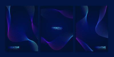 coleção de capas azuis escuras com linhas onduladas neon vetor