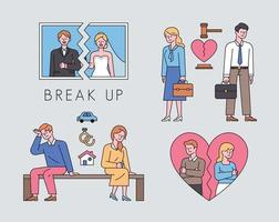 coleção de casais divorciados. fotos de casamento estão rasgadas, ações judiciais de divórcio, divisão de propriedades e casos de amor. ilustração em vetor mínimo estilo design plano.