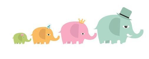 conjunto de desenhos animados de elefantes familiares fofos vetor
