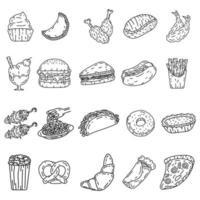 conjunto de ícones de alimentos. doodle desenhado à mão ou estilo de ícone de contorno preto vetor