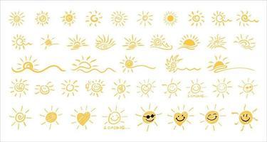 símbolo do sol. ícone de sol desenhado de mão. vetor