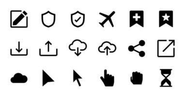 conjunto de ícones de interface do usuário essencial sólido. vetor