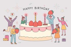 cartão postal de festa de aniversário. vetor