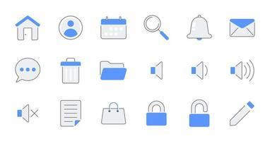 contorno preenchido essencial conjunto de ícones de interface do usuário. vetor