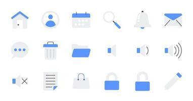 conjunto de ícones de interface do usuário essencial plana. vetor