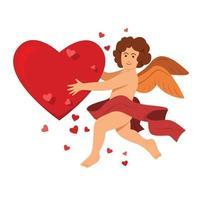 o anjo segura um grande coração para a decoração do dia dos namorados. vetor