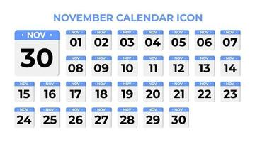 ícone do calendário de novembro, definido em azul vetor