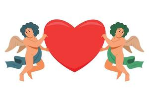 o duo angel segura um grande coração para a decoração do dia dos namorados. vetor