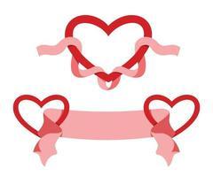 dois estilos de fita e coração para a decoração do dia dos namorados. vetor