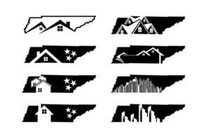 mapa do estado de tennessee com logotipo de imóveis residenciais vetor