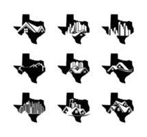 mapa do estado do texas com imóveis e logotipo residencial vetor