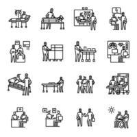 ilustração de vírus corona definir ícone de vetor enfermeira, patien e médico de novo