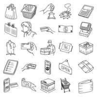 compras definir vetor de ícone. doodle desenhado à mão ou estilo de contorno