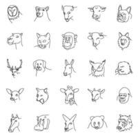 animais definem vetor de ícone com estilo de contorno