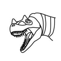 ícone do ceratossauro. doodle desenhado à mão ou estilo de ícone de contorno preto vetor