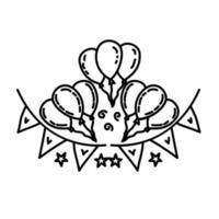 ícone de decoração. estilo de ícone de contorno preto desenhado à mão doddle vetor