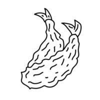 ícone de tempura. doodle desenhado à mão ou estilo de ícone de contorno preto vetor