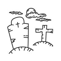 ícone do túmulo de lápide. doodle desenhado à mão ou estilo de ícone de contorno preto