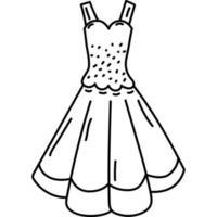 ícone de vestido. doddle desenhado à mão ou estilo de ícone de contorno preto. ícone do vetor