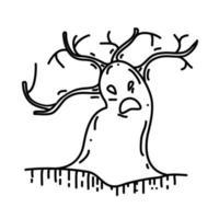 ícone da árvore. doodle desenhado à mão ou estilo de ícone de contorno preto vetor