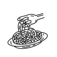 ícone de espaguete. doodle desenhado à mão ou estilo de ícone de contorno preto vetor