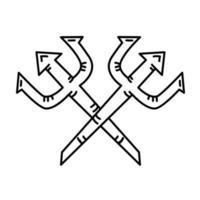 ícone do tridente. doodle desenhado à mão ou estilo de ícone de contorno preto vetor