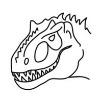 ícone do dragão tirânico. doodle desenhado à mão ou estilo de ícone de contorno preto vetor