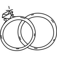 ícone de anéis. doddle desenhado à mão ou estilo de ícone de contorno preto. ícone do vetor
