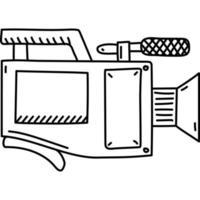 ícone de vídeo. doddle desenhado à mão ou estilo de ícone de contorno preto. ícone do vetor