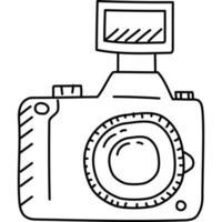 ícone da câmera. doddle desenhado à mão ou estilo de ícone de contorno preto. ícone do vetor