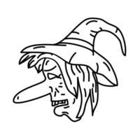 ícone de chapéu de bruxa. doodle desenhado à mão ou estilo de ícone de contorno preto vetor