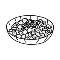 ícone de salada antipasto. doodle desenhado à mão ou estilo de contorno vetor