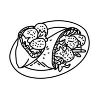 ícone de falafel. doodle desenhado à mão ou estilo de contorno vetor