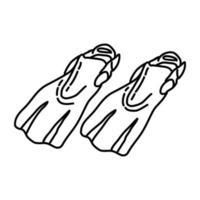 ícone de nadadeira nadadora. doodle desenhado à mão ou estilo de contorno vetor
