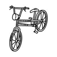 ícone de praia de bicicleta. doodle desenhado à mão ou estilo de contorno