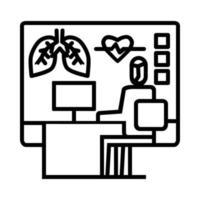 ícone de exame final de laboratório. símbolo de atividade ou ilustração para lidar com o vírus corona vetor