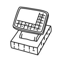 ícone digital de caixa. doodle desenhado à mão ou estilo de contorno