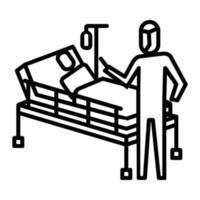 ícone de paciente internado. símbolo de atividade ou ilustração para lidar com o vírus corona vetor