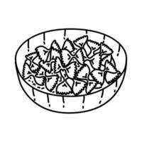 ícone farfalle. doodle desenhado à mão ou estilo de contorno vetor