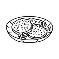ícone de tomate verde frito. doodle desenhado à mão ou estilo de contorno vetor