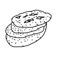 ícone khubz arabi. doodle desenhado à mão ou estilo de contorno vetor