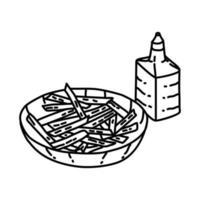 fritas com ícone de vinagre. doodle desenhado à mão ou estilo de contorno vetor