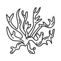 ícone de recife de coral. doodle desenhado à mão ou estilo de contorno vetor