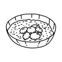 ícone de sopa de moluscos da nova inglaterra. doodle desenhado à mão ou estilo de contorno vetor